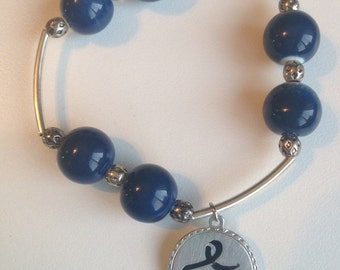 """Blue Glass Bead Stretch Bracelet with Pewter """"Blue Star"""" for Colon Cancer Charm"""