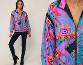 Neon Windbreaker Jacket Southwestern Jacket Aztec TRIBAL Print 90s Boho Coat Vintage Purple Blue Retro Medium Large