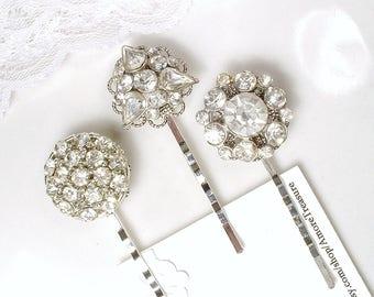 1, 2 OR 3 Antique Art Deco Rhinestone Bridal Hair Pin, Something Old 1920 Vintage Wedding Paste Bobby Pin,Silver Gatsby Hair Jewelry Downton