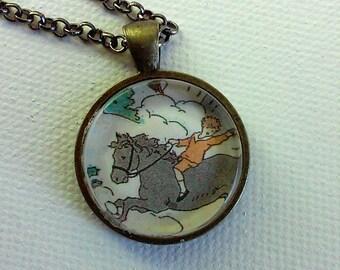 Enfant sur un poney - 1920 éphémères pendentif - unique en son genre