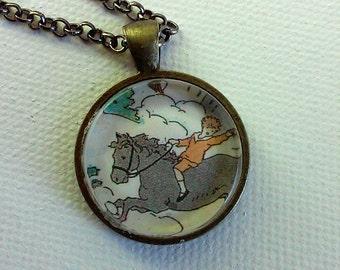 Child on a Pony -  1920's Ephemera Pendant - One of a Kind