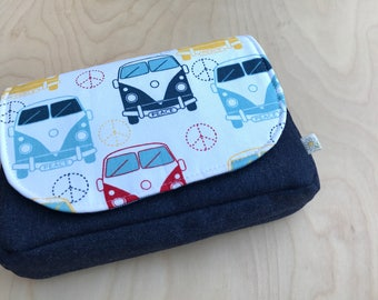 Cash Envelope Clutch - Cash Envelope System - Cash Budgeting System - Zipped Cash Envelopes - VW Bus and Suiting - Yarn Knitting Crochet