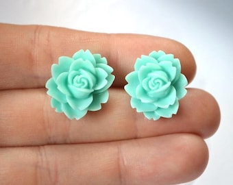 green rose stud earrings flower earrings post earrings tiny stud mint green stud green rose earrings mint jewelry gift for daughter gift eco