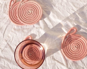 handmade nautical naturally dyed cotton rope coasters set of 4 - pink