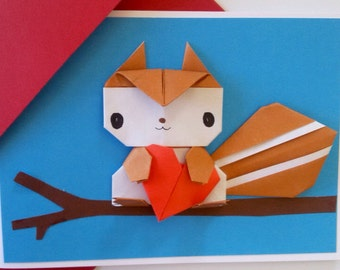 Pug birthday card valentine card origami be mine handmade squirrel birthday card origami handmade greeting card anniversary card pop up card bookmarktalkfo Choice Image