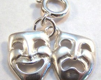 Sterling Silver Comedy Tragedy Mask - Fits European and Traditional Charm Bracelets -1151