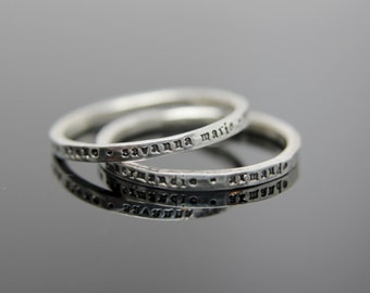 One custom stamped hammered band in sterling silver. Sterling silver stamped band. Mommy ring Grandma ring