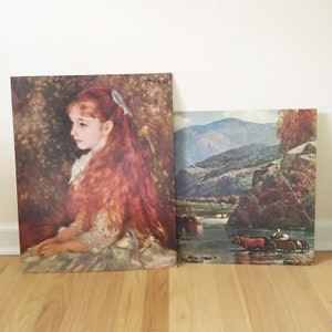 Vintage Set of Two Mid Century 16x20 Reproduction Lithographs -- Little Irene by Renoir -- Crossing the Stream by Melrose