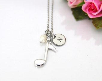 Music Gift, Orchestras Necklace, Musician Gift, Music Teacher Gift, Music Melody Charm, Silver Music Note Charm, Personalized Gift, N35