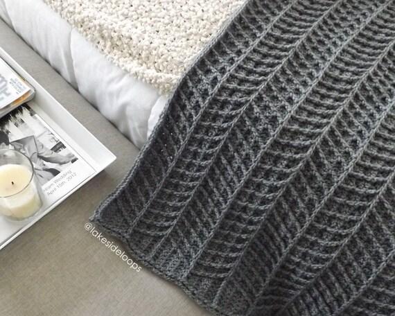 Crochet Pattern Hayden Chevron Blanket Afghan Rug By