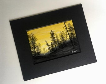 Through A Forest Wilderness II - Orignal Miniature Oil Painting on masonite board