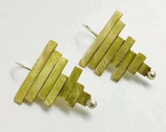 Brass and silver earrings hand-made earrings