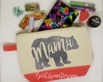 Mama Bear | Cosmetic Bag | GLITTER Design! | Mom Life | Mother's Day | Planner Bag | Canvas Zipper Bag | Gift for Mom | Makeup Bag