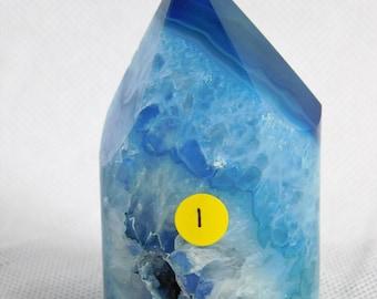 (1) gefärbt Achat-Kristall-Punkt blau Geode freistehend tolles Geschenk Zuhause Art Dekor