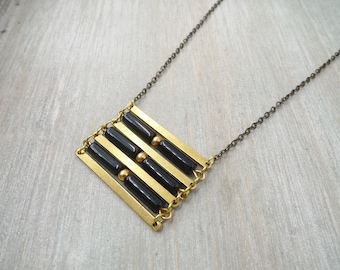 Long necklace,  Black Agate and raw brass necklace, Geometric necklace, Long statement necklace