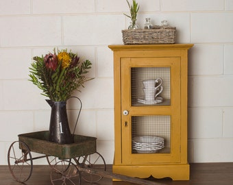 SOLD*****Newly Refurbished Vintage Mustard Yellow Rustic Cabinet with Key