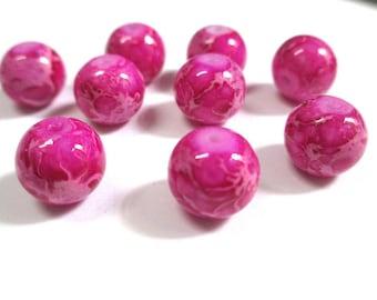 10 beads fuchsia mottled glass 10mm (S-32)