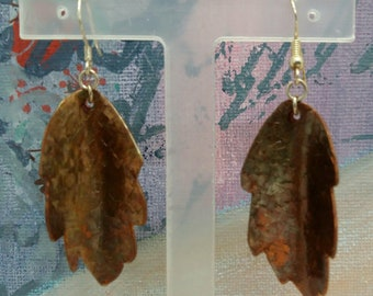 Copper Leaf Quirky Mixed Metal Art Earrings Handmade One of a Kind by Sujati