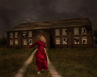 Conceptual, Girl in Vintage Red Dress Running Fine Art Photo Print
