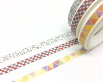 Lot de 3 Washi Tape 7 mm x 5 m