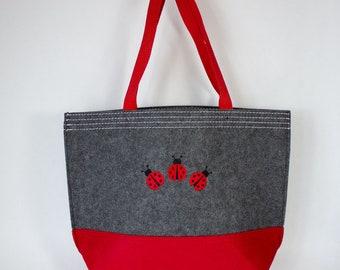 Embroidered Ladybug Felt Tote