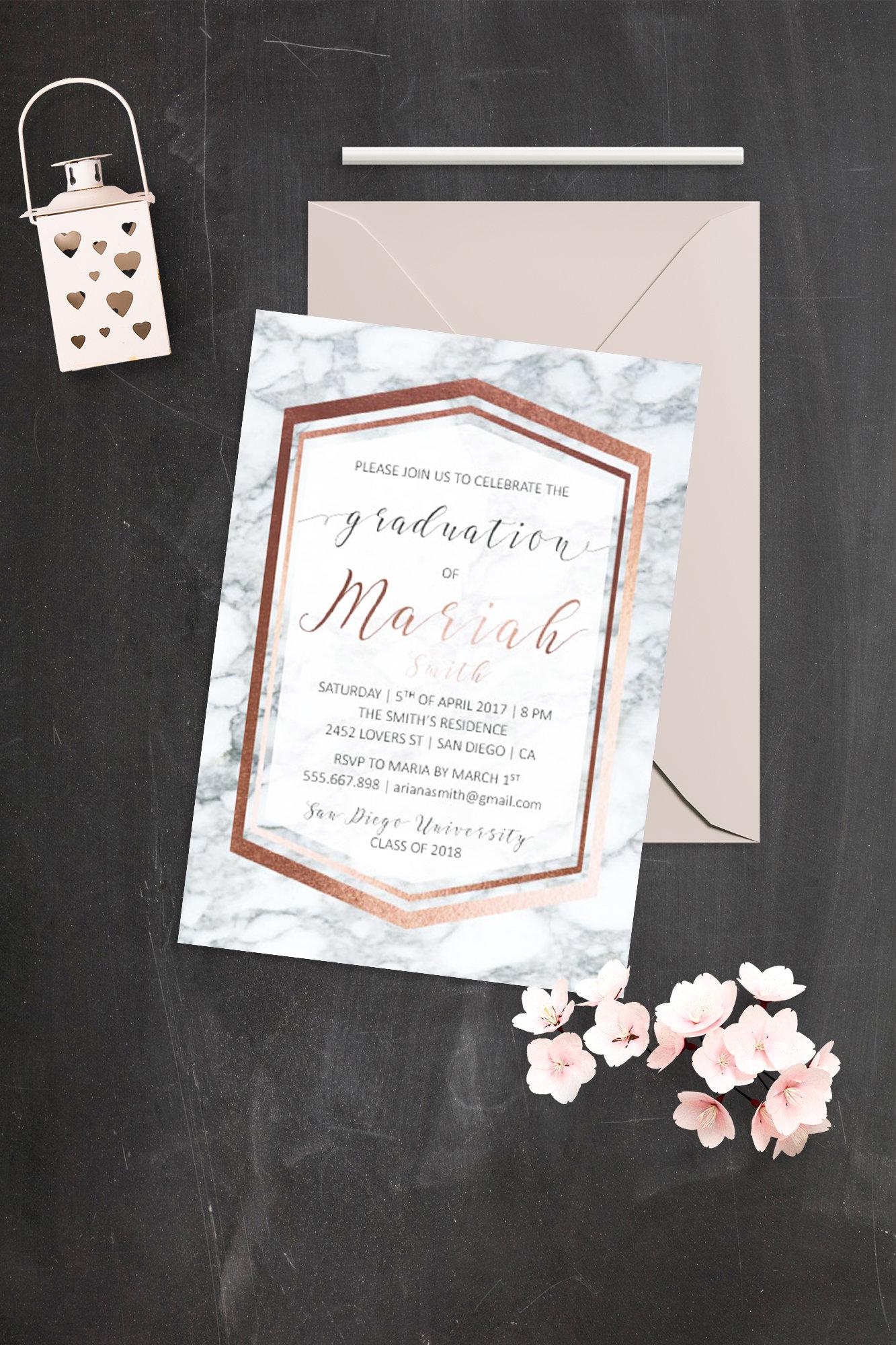 Elegant Graduation Invites Rose Gold Marble Graduation Party