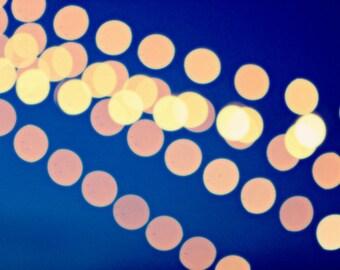 String Lights Photo, Bokeh Wall Art, Midnight Blue Photo, Modern Art, Abstract Wall Art, Night Sky Photograph, Dark Blue Cream, Circles Art