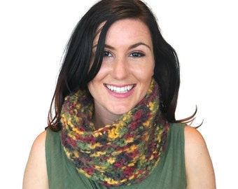 Chunky Knit Cowl Wine Green Mustard Adele Tube Scarf Hand Knit Wool Mohair Acrylic