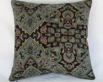 "Teal and Dark Brown Pillow Cover, 17"" Sq Heavy Chenille Tapestry, Vintage Look Medallion Carpet Style, Turquoise Blue Green, Ready Ship"