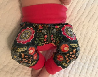 Girl Grow With Me Pants, Girl Maxaloones in Midnight Bloom, Cloth Diapering Pants, Cloth Diapering Clothing