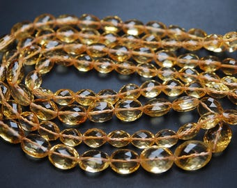 173 Carats,16 Inch Strand,Finest Quality,Natural Citrine Faceted Oval Shape Briolettes,11-15mm size