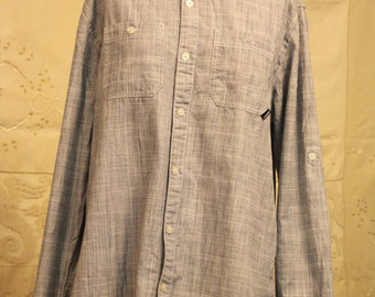 Casual Blue Linen Button Up Oxford Shirt - Men's Size M