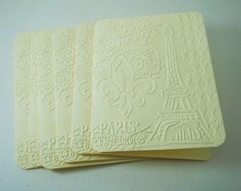 Blank Card Paris, Parisian Cards, Fleur de Lis Card, Eiffel Tower Card, French Embossed Card, Romantic Parisian Card, Parisian Embossed Card