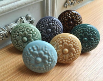 Flower Knobs Ceramic Knobs and Pulls /Drawer Knobs /Cabinet Knobs C039