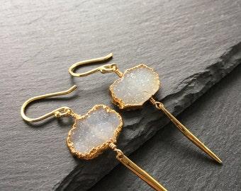 Long Earrings Spike Earrings Drusy Earrings Fine Jewelry Gold Earrings Drusy Jewelry White Earrings Gift For Her Under 75 White Drusy