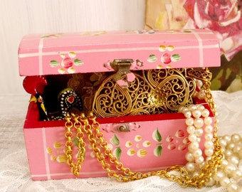 Vintage Pink Portuguese wood trunk jewelry box