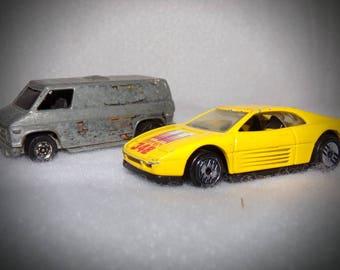 Vintage Hot Wheels .Hot wheels California Silver Van 1974 . Hot Wheels Yellow Ferrari 1990 . Rare Hot Wheels Cars .Die Cast Toy Cars.