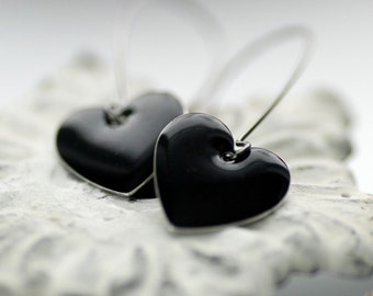 Black Heart Earrings, Enameled Earrings, Metal Earrings, Dangle Earrings, Black Wedding, Anti-Valentine