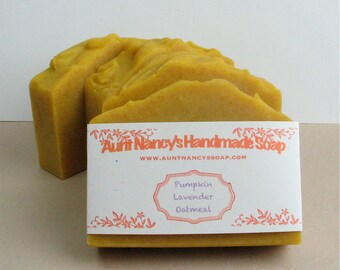 Pumpkin Lavender Oatmeal Handmade Natural Soap - With Pureed Pumpkin, Oatmeal - Scented with Essential Oils of Lavender, Cinnamon, Ginger