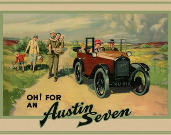 Austin Seven, Vintage, Illustration, 1930s, Print, Advertising Poster