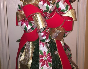 Christmas Tree Bow Topper - Large -Gold, Red, & Poinsettia Ribbon BOW ONLY - No Picks!!!