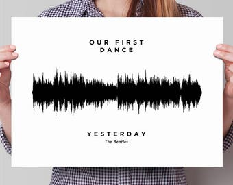 Personalized Soundwave Poster: Song Sound Wave Graphic Print, Personalized Voice Waveform Art, Baby heartbeat, Birthday or Christmas gift