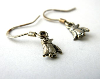 Tiny Penguin Earrings Silver Color Dangle Earrings