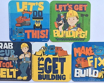 Bob the Builder Refrigerator Magnets, Party Favors, 6 Fridge Magnets Set PBS Nick Jr. Scoop Muck Roley Dizzy Lofty