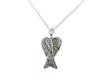 Angel Wing Necklace, Wing Charm Jewelry, Wing Pendant, Antique Silver Wing Necklace, Remembrance Necklace, Guardian Angel, Silver Angel Wing