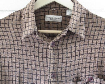 Mens Vintage Dress Shirt, Giorgio Danieli, Medium