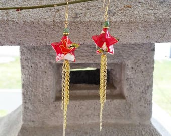 Japanese Origami Jewelry - Shooting Star Earrings with Surgical Steel Hooks No.03537