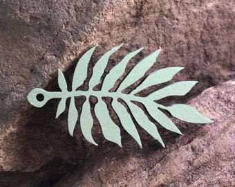 Painted Tropical Leaf Wooden Pendant