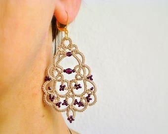 Tatting Earrings Ecru Ametist | Chandelier Tatted Earrings Made in Italy | Ametist Glass Beads| Frivolite | Lightweight Long Earrings