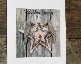 Star With Crows-Primitive Americana Applique
